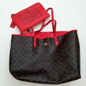 Coach Reversible City Tote - Chocolate Brown & Red